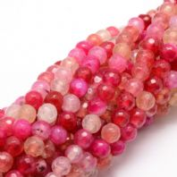 25 Natural Agate  Faceted Beads  Camellia, 6mm, Hole: 1mm